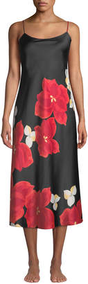Natori Ginza Long Floral-Print Charmeuse Nightgown