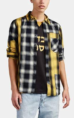 Ovadia & Sons Men's Appliquéd Patchwork Plaid Flannel Shirt - Yellow