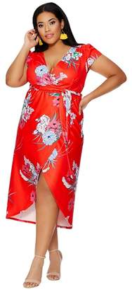 Quiz Curve Red Oriental Wrap Cap Sleeve Dress