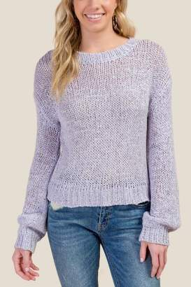 francesca's Anne Balloon Sleeve Pullover Sweater - Lavender