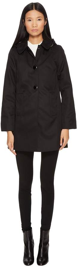 Kate Spade New York - Rain Button Front Hooded Jacket Women's Coat