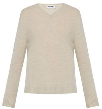 V Neck Wool Sweater - Mens - Light Beige