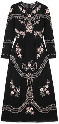 Vilshenko Darcel Embroidered Cotton-voile Midi Dress - Black