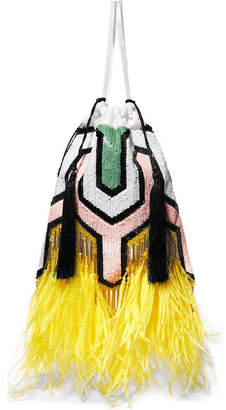 ATTICO Tasseled Feather-trimmed Sequined Satin Pouch - Yellow