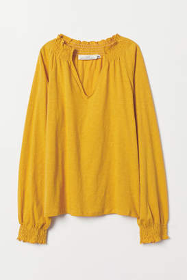 H&M Blouse with Smocking - Yellow