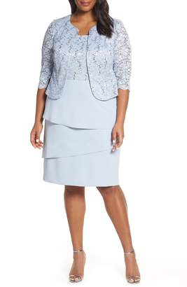 e107bc8f9c4 Alex Evenings Tiered Skirt Cocktail Dress with Jacket