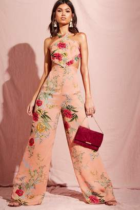 boohoo Floral Print Cut Out Wide Leg Jumpsuit