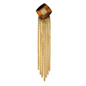 The Last Line Diamond And Tigers Eye Pyramid Fringe Drop Earring