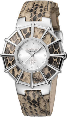 Roberto Cavalli By Franck Muller 37.5mm Watch w/ Embossed Leather Strap
