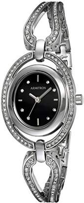 Swarovski Armitron Women's 75/5473BKSV Crystal Accented Silver-Tone Open Bangle Watch