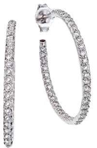 Roberto Coin 0.8 TCW Diamond & 18K White Gold Medium Hoop Earrings