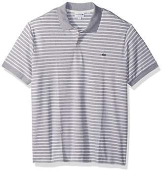 Lacoste Men's Short Sleeve Stripe Pima Jersey Interlock Regular Fit