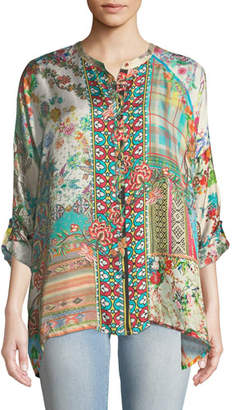 Johnny Was Resort Boxy Silk Button-Front Tunic, Plus Size