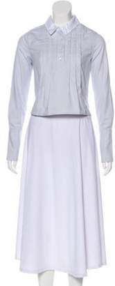 Jonathan Saunders High-Low Pleated Blouse w/ Tags Blue High-Low Pleated Blouse w/ Tags
