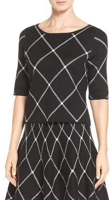 Ivanka Trump Plaid Knit Elbow Sleeve Top $79 thestylecure.com