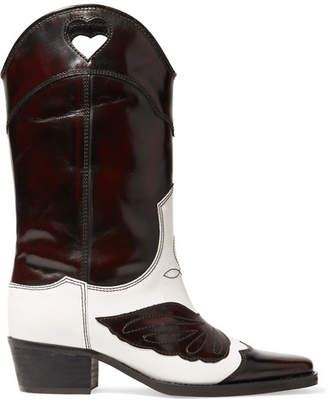 Ganni Two-tone Embroidered Leather Cutout Boots