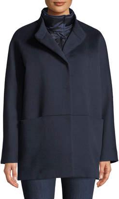 Cinzia Rocca Button-Front Wool Coat w/ Removable Nylon Bib