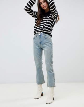 Asos DESIGN Egerton rigid cropped flare jeans in pretty aged blue wash