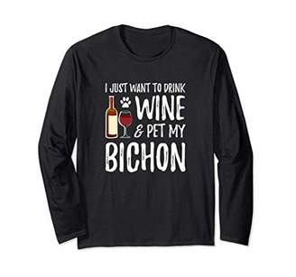 Wine and Bichon Long Sleeve Shirt for Funny Dog Mom Gift