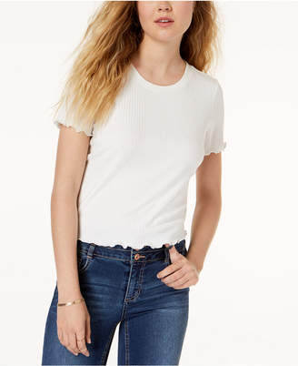 American Rag Juniors' Scalloped Lace-Up T-Shirt