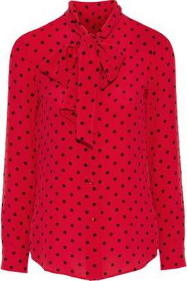 Moschino Pussy-Bow Polka-Dot Silk Blouse