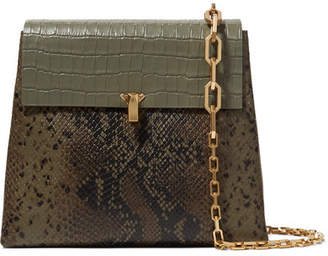 THE VOLON Po Day Croc-effect, Snake-effect And Textured-leather Shoulder Bag - Green