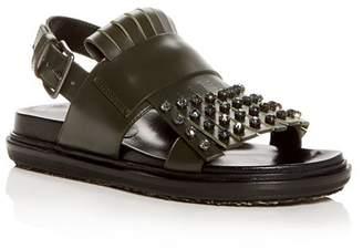 Marni Women's Fussbett Embellished Leather Slingback Sandals