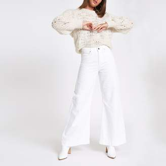 River Island Womens White Mila wide leg jeans