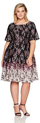 Julian Taylor Women's Plus Size Full Figure Chandelier Printed Fit and Flare Dress