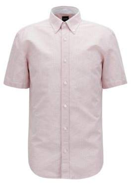 BOSS Hugo Slim-fit shirt in cotton-blend dobby M Open Red