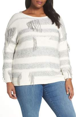 Vince Camuto Fringe Detail Stripe Cotton Blend Sweater