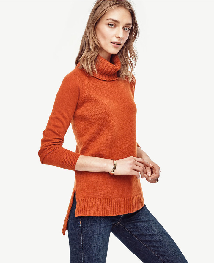 Ann TaylorCashmere Turtleneck Tunic Sweater