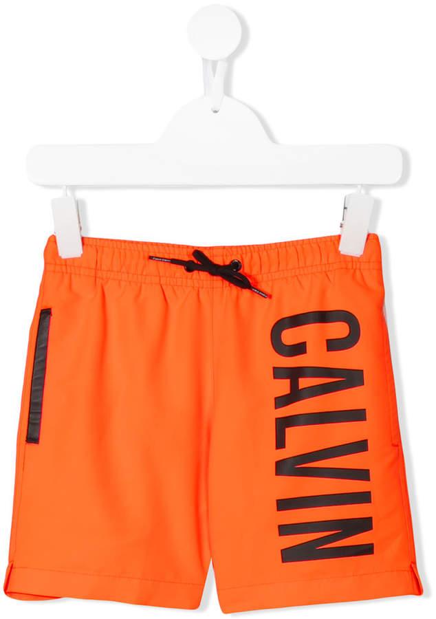 Calvin Klein Kids logo print track shorts