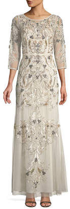 Aidan Mattox Embellished Scoop-Back Gown