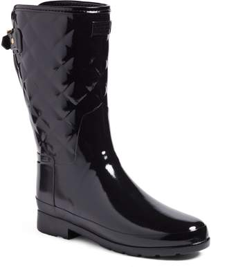 Hunter Refined High Gloss Quilted Short Waterproof Rain Boot