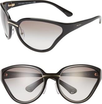 Prada 68mm Oversize Wrap Butterfly Sunglasses