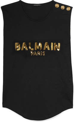 Balmain Button-embellished Sequined Cotton-jersey Top - Black