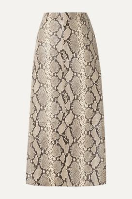 Alexander Wang Snake-effect Leather Midi Skirt - Snake print