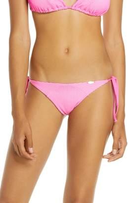 Luli Fama Textured Stripe Bikini Bottoms
