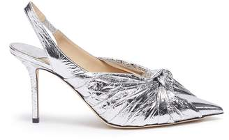 Jimmy Choo 'Annabell' knot ruched metallic leather slingback pumps