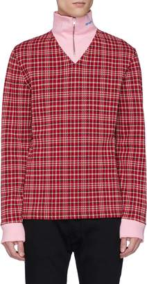 Calvin Klein Contrast panel tartan plaid turtleneck sweater