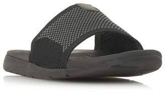 Dune Black 'Hanks' Knit Strap Slider Sandals