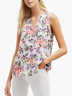 81d11fed74f933 French Connection Armoise Floral V Neck Top, Lavender Frost Multi