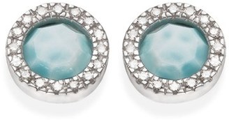 Women's Monica Vinader Naida Diamond & Larimar Circle Stud Earrings $415 thestylecure.com