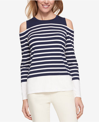 Tommy Hilfiger Striped Cold-Shoulder Top, Only at Macy's $59.50 thestylecure.com
