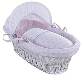 Clair De Lune Speckles White Wicker Moses Basket inc. bedding, mattress & adjustable hood (Blue)