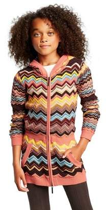 Missoni for Target Girls' Colore Zig Zag Long Sleeve Hooded Zip-Up Cardigan
