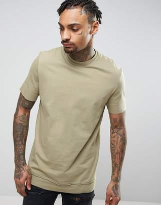 Asos DESIGN Longline T-Shirt With Layered Hem And Raw Edges