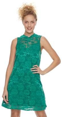 Juniors' Liberty Love Mockneck Lace Shift Dress