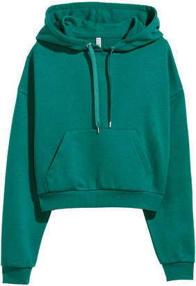 H&M Short Hooded Sweatshirt - Green